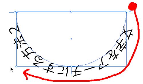 逆アーチカーソルの軌道