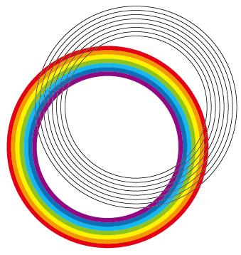 虹塗りと線分裂