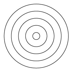 全て等間隔な円五重