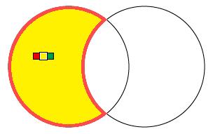 左の正円黄色